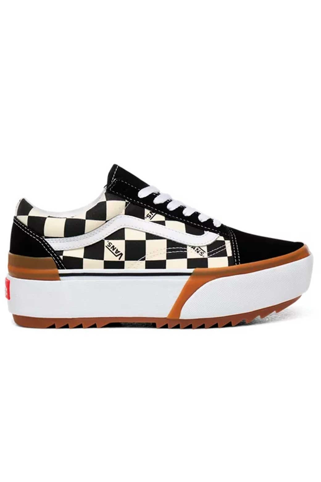 tiempo familia Trasplante  Vans - Zapatillas para mujer Negra y Blanca - Old Skool Stacked Checkerboard